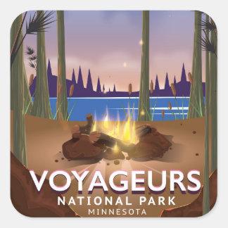 Adesivo Quadrado Poster de viagens de Minnesota do parque nacional