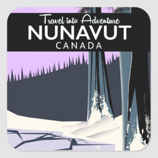 Adesivo Quadrado Poster de viagens de Nunavut Canadá