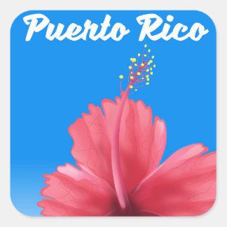 Adesivo Quadrado Poster de viagens de Puerto Rico Flor de maga