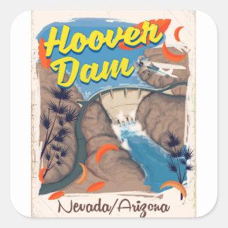 Adesivo Quadrado Poster de viagens do barragem Hoover
