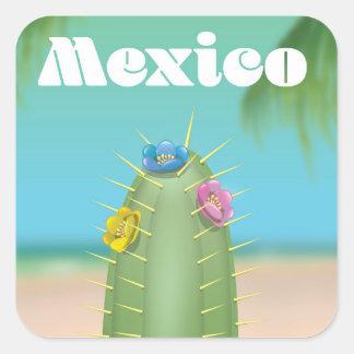 Adesivo Quadrado Poster de viagens do cacto de México