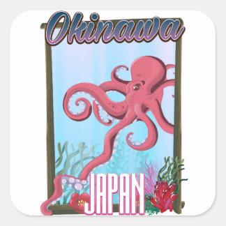 Adesivo Quadrado Poster de viagens do calamar de Okinawa Japão