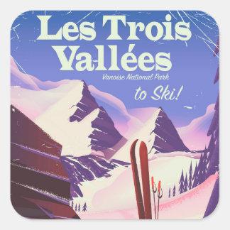 Adesivo Quadrado Poster de viagens do esqui de Les Trois Vallées