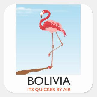 Adesivo Quadrado Poster de viagens do flamingo de Bolívia