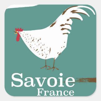 Adesivo Quadrado Poster de viagens do galo novo de Sabóia France