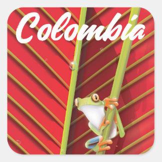 Adesivo Quadrado Poster de viagens do sapo de árvore de Colômbia
