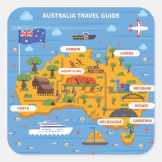 Adesivo Quadrado Poster do guia do viagem de Austrália