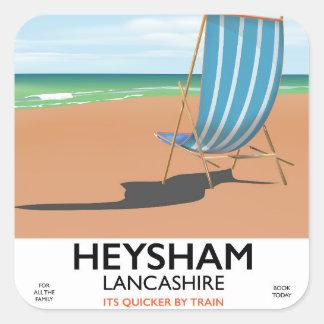 Adesivo Quadrado Poster do trem do vintage de Heysham Lancashire