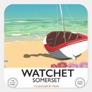 Adesivo Quadrado Poster do trem do vintage de Watchet Somerset