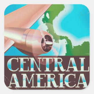 Adesivo Quadrado Poster do vôo do vintage de América Central