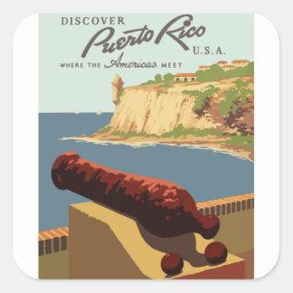 Adesivo Quadrado Poster Puerto Rico das viagens vintage
