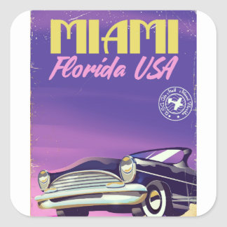 Adesivo Quadrado Poster vintage de Miami Florida EUA