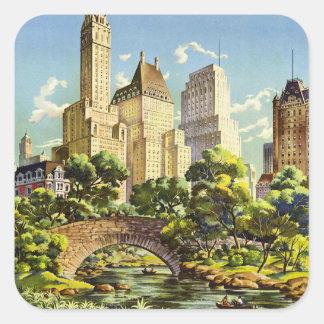 Adesivo Quadrado Poster vintage do Central Park da Nova Iorque