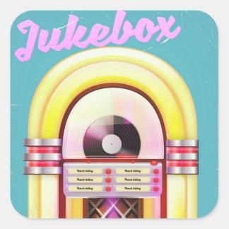 Adesivo Quadrado Posudo do jukebox do vintage