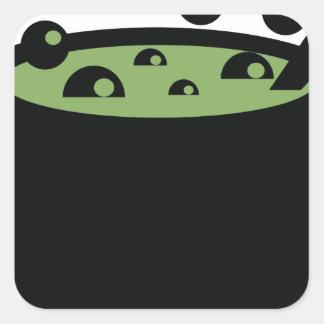 Adesivo Quadrado Pote preto e verde do cozinhar