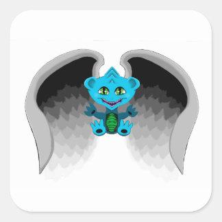 Adesivo Quadrado Pouco dragão com asas
