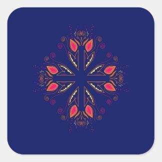 Adesivo Quadrado POVOS do azul dos elementos do design