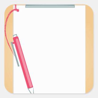 Adesivo Quadrado Prancheta & lápis