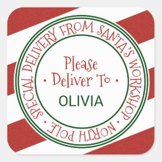 Adesivo Quadrado Presente do Natal da listra da oficina do papai
