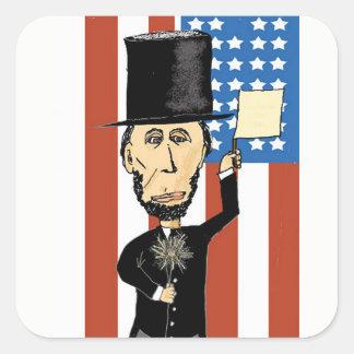 Adesivo Quadrado Presidente Lincoln Retângulo Etiqueta, lustrosa