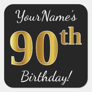 Adesivo Quadrado Preto, aniversário do 90 do ouro do falso + Nome
