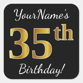 Adesivo Quadrado Preto, aniversário do ouro do falso 35o + Nome