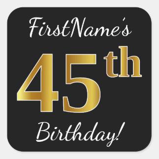 Adesivo Quadrado Preto, aniversário do ouro do falso 45th + Nome