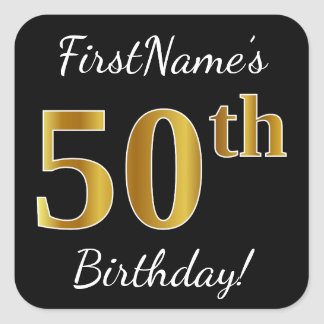 Adesivo Quadrado Preto, aniversário do ouro do falso 50th + Nome