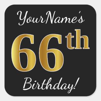Adesivo Quadrado Preto, aniversário do ouro do falso 66th + Nome