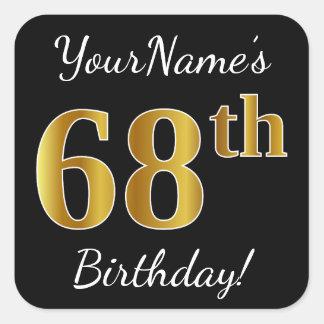 Adesivo Quadrado Preto, aniversário do ouro do falso 68th + Nome