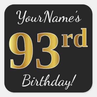 Adesivo Quadrado Preto, aniversário do ouro do falso 93rd + Nome