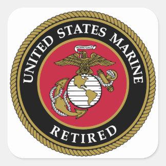 Adesivo Quadrado Preto aposentado fuzileiro naval dos E.U.