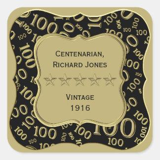 Adesivo Quadrado Preto do aniversário do Centenarian 100th e tema
