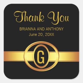 Adesivo Quadrado Preto & obrigado do monograma do ouro você