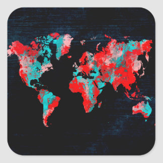 Adesivo Quadrado preto vermelho do mapa do mundo