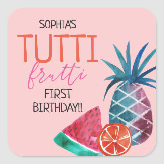 Adesivo Quadrado Primeira festa de aniversário de Tutti Frutti