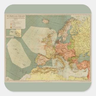 Adesivo Quadrado Primeira Guerra Mundial (U-Barco) Mapa submarino