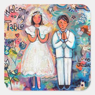 Adesivo Quadrado Primeiros etiquetas, menino e menina do comunhão