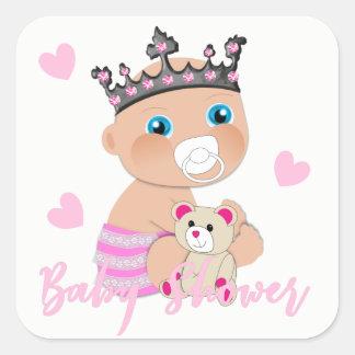 Adesivo Quadrado Princesa bonito Rega do bebê dos corações