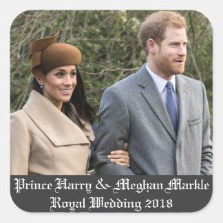 Adesivo Quadrado Príncipe Harry & casamento real 2018 de Meghan