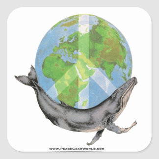 Adesivo Quadrado Projeto da paz da baleia de Humpback
