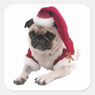 Adesivo Quadrado Pug do Natal - cão de Papai Noel - persiga claus