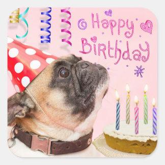 Adesivo Quadrado Pug do partido e bolo de aniversário