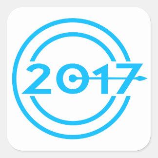 Adesivo Quadrado Pulso de disparo da data de 2017 azuis