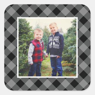Adesivo Quadrado Quadro cinzento da xadrez da foto   do feriado
