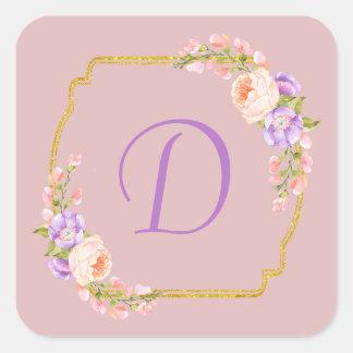 Adesivo Quadrado Quadro inicial do ouro do monograma com louros da