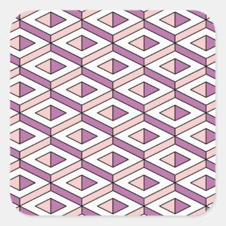 Adesivo Quadrado quartzo cor-de-rosa da geometria 3d