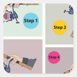 Adesivo Quadrado Quatro etapas para moldar a haste de giro com