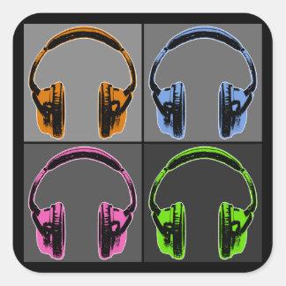 Adesivo Quadrado Quatro fones de ouvido do pop art