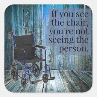 Adesivo Quadrado Que você vê? Cadeira de rodas